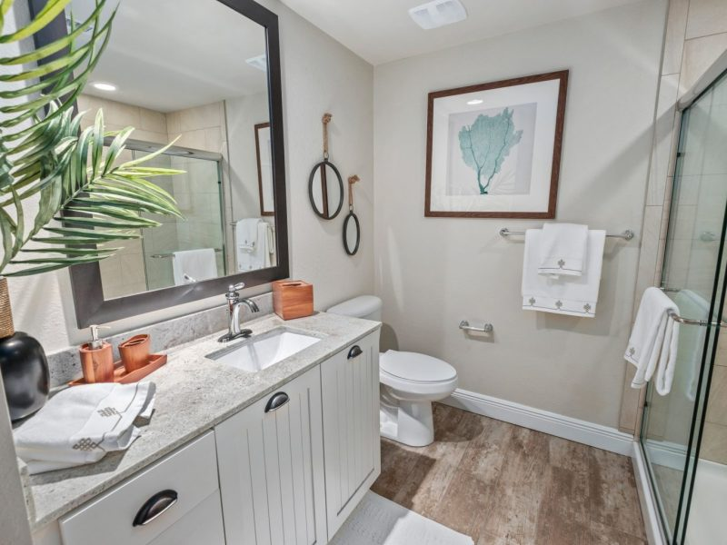 This image shows a contemporary bath that is spacious and accessible. It has a beautiful wood-look floor tile, glass semi-frameless shower doors, and tile showers.