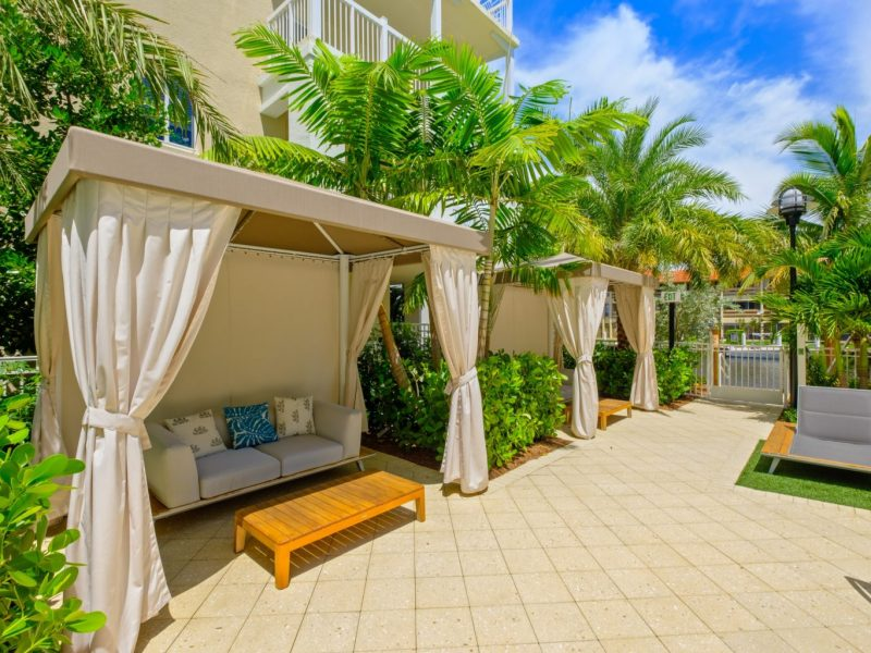 This image shows the luxurious summer vibe cabanas nearby the swimming pool area that was perfect for relaxation after a long swimming experience.
