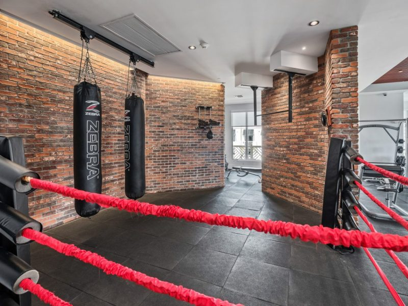 This image shows the Premium Community Amenities, especially the fitness gym featuring the boxing ring and punching bags. This area is a place for an Aerobic exercise that will get your heart pumping and helps lower the risk of high blood pressure, heart disease, stroke, and diabetes. It can strengthen bones and muscles, burn more calories, and lift the mood.