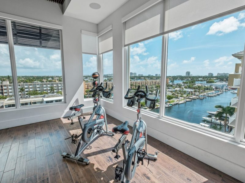 This image shows the 24-hour State-of-the-art fitness gym featuring equipment for a full-body workout and cardio test. This area is also the perfect place to see the beautiful scenic view of Harbor.