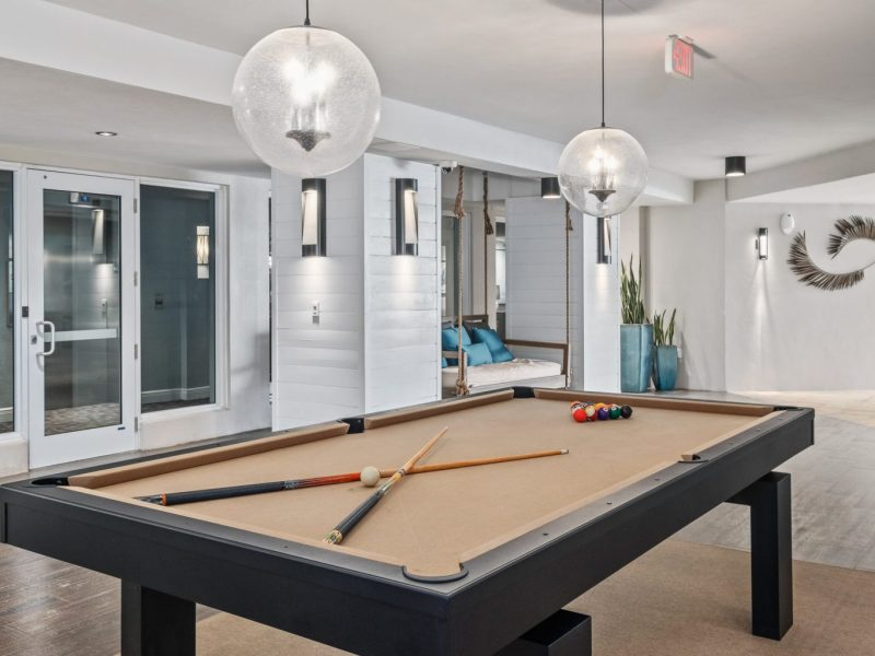 This image shows the expansive view inside the indoor billiard in TGM Harbor Beach Apartment, featuring the ideal space for fun moments with friends and family besides the TV lounge.