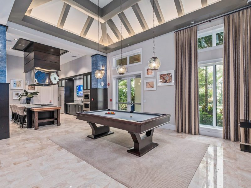 This image shows the expansive view inside the indoor billiard in TGM Harbor Beach Apartment, featuring the ideal space for fun moments with friends and family.