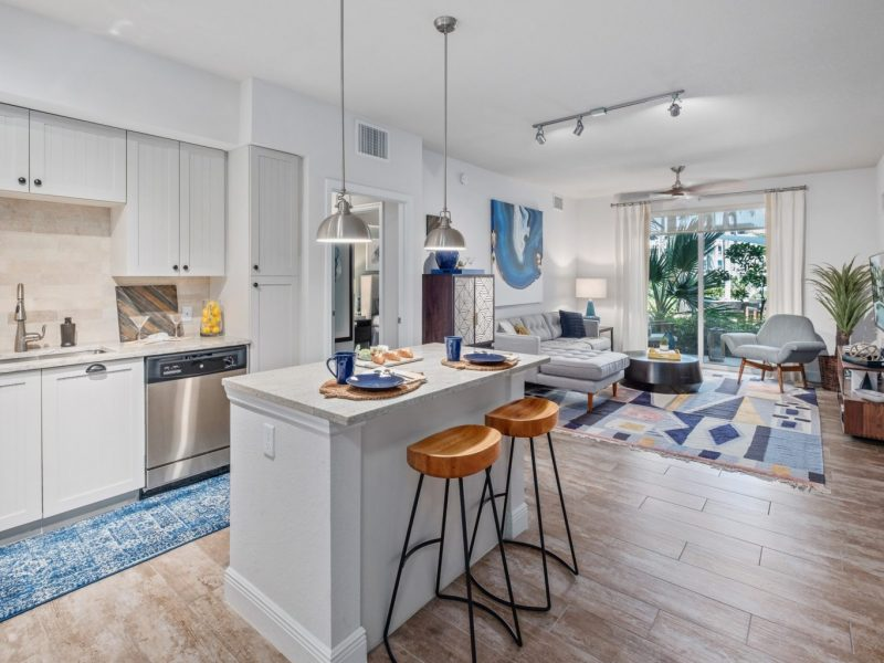 This image shows the Premium Apartment Feature, especially the kitchen island showcasing a neat granite-inspired countertop and an area that is accessible in the dining room.