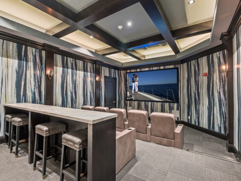 This image shows the view inside the media center in TGM Harbor Beach Apartment with a spacious area and plush stadium that was ideal for a movie treat.